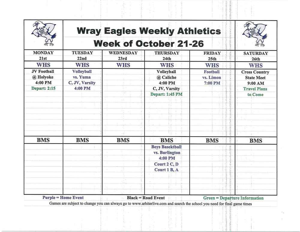 Eagle activities for the week of October 21-26​