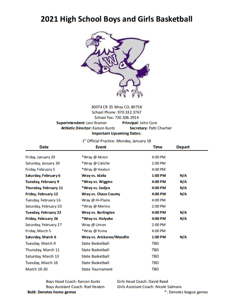 High School Boys and Girls Basketball Schedule