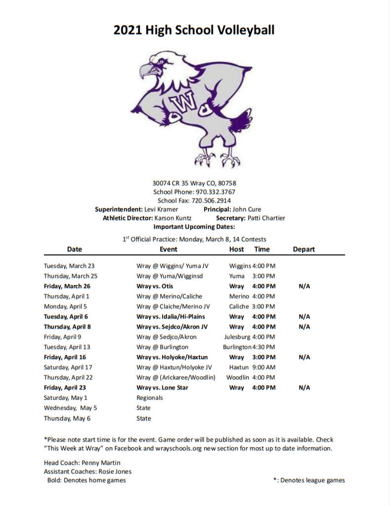 2021 Volleyball Schedule