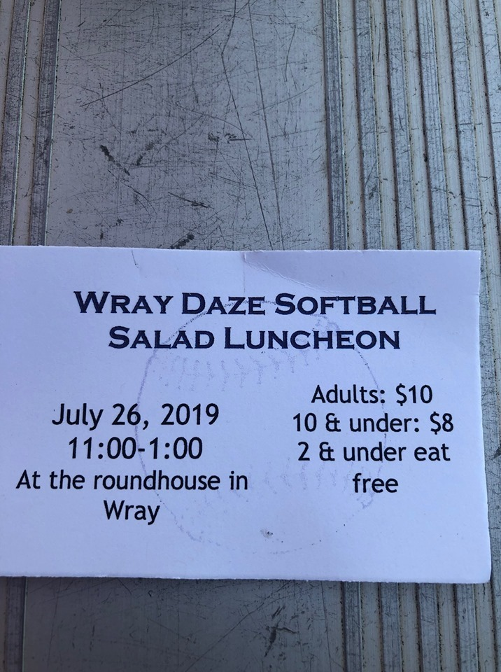 Wray Daze Softball Salad Luncheon Ticket