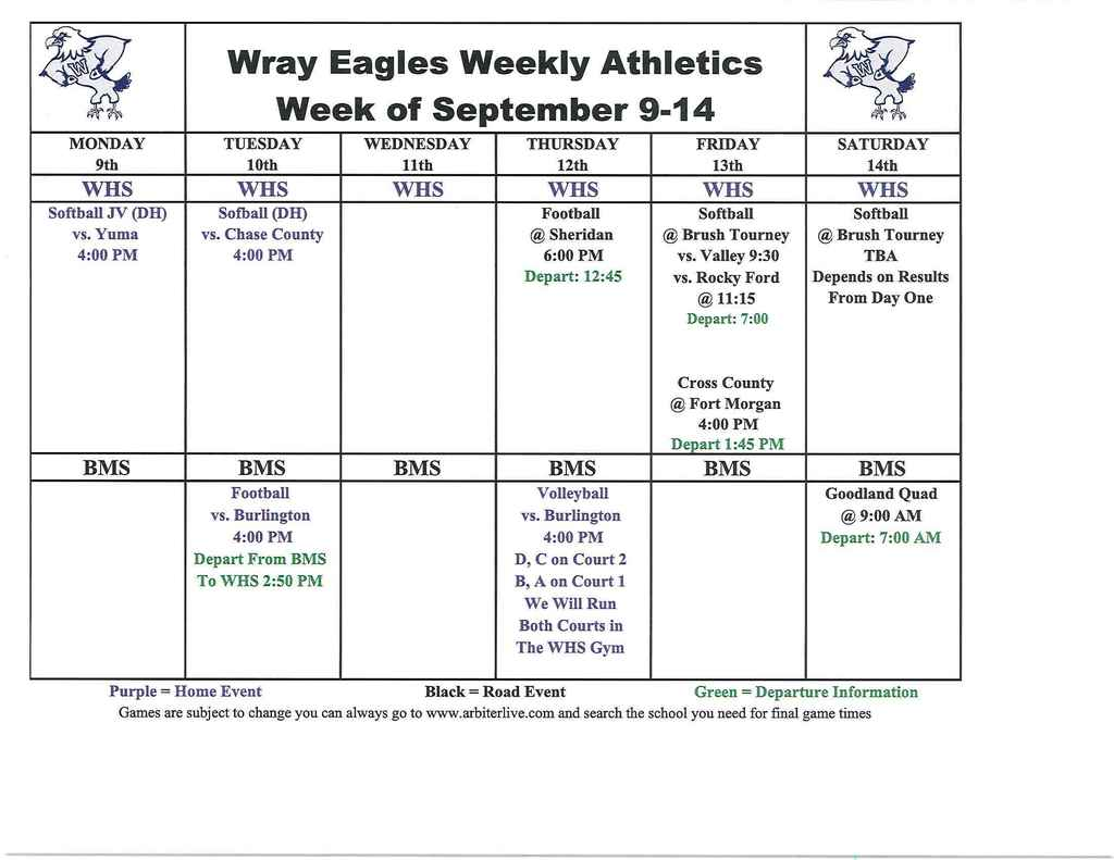 Sept. 9-14 Eagle Events