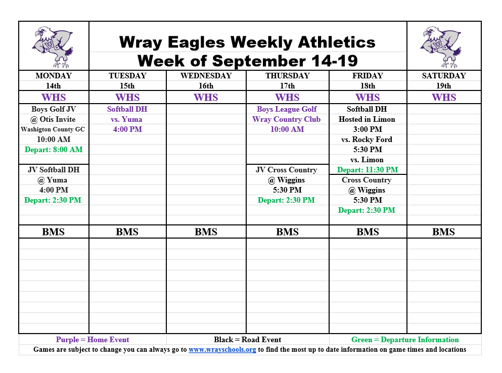 This Week at Wray Schools / Esta Semana en Wray Schools