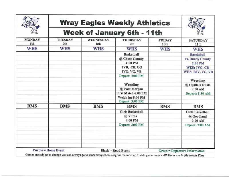 UPDATED Athletic Events Week of Jan. 6-11