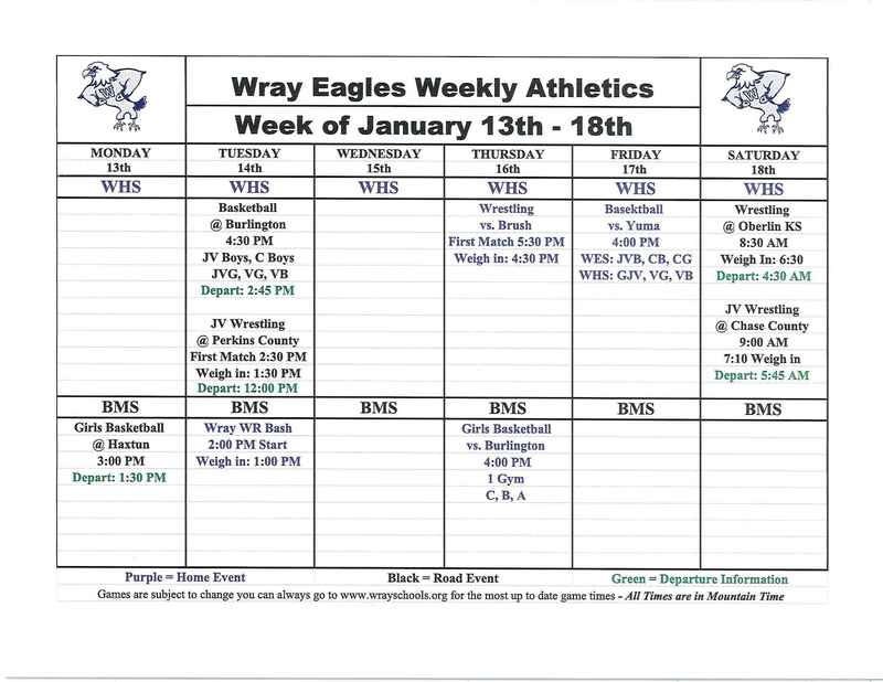 Athletic Events for Week of Jan. 13-18