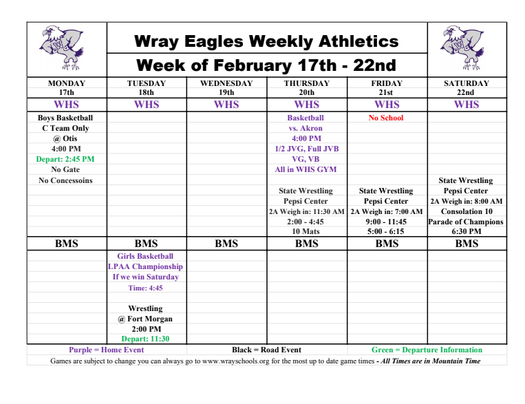UPDATED Next Week at Wray Schools/La Proxima Semana en las Escuelas Wray