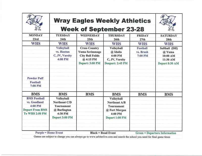 Eagle Events at Wray for week of Sept. 23-28