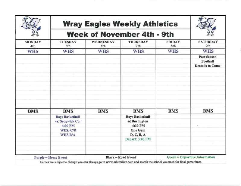 Wray Eagles Week of Nov. 4-9