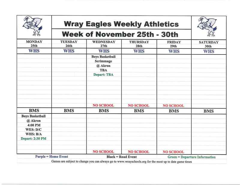 Activities for Week of Nov. 25-30