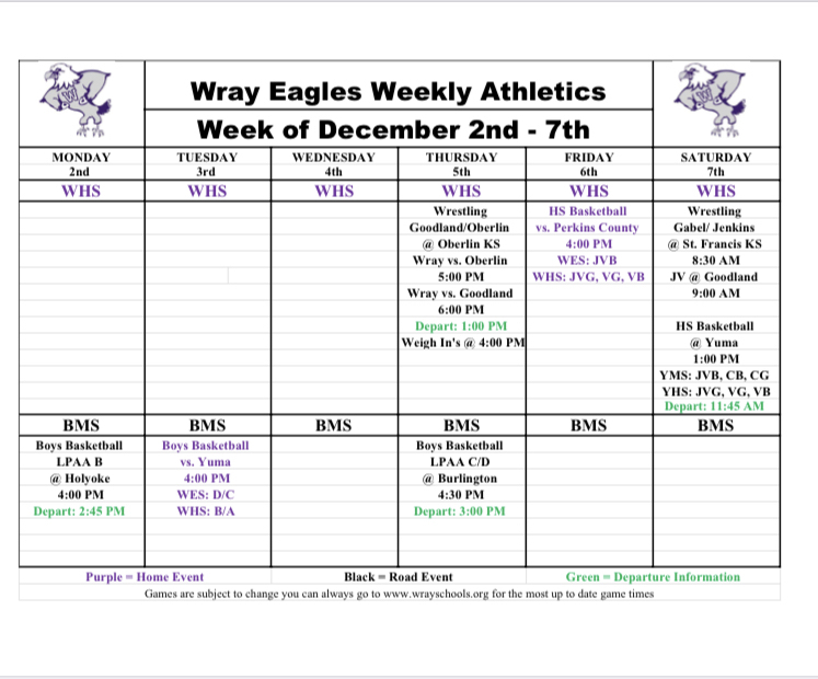 Updated Wray Eagle Weekly Activities